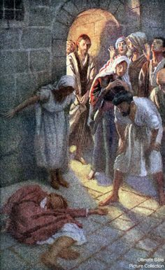 Painting of dead Eutychus from Acts 20