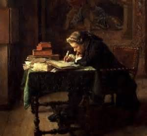 Old painting of man writing at a desk.